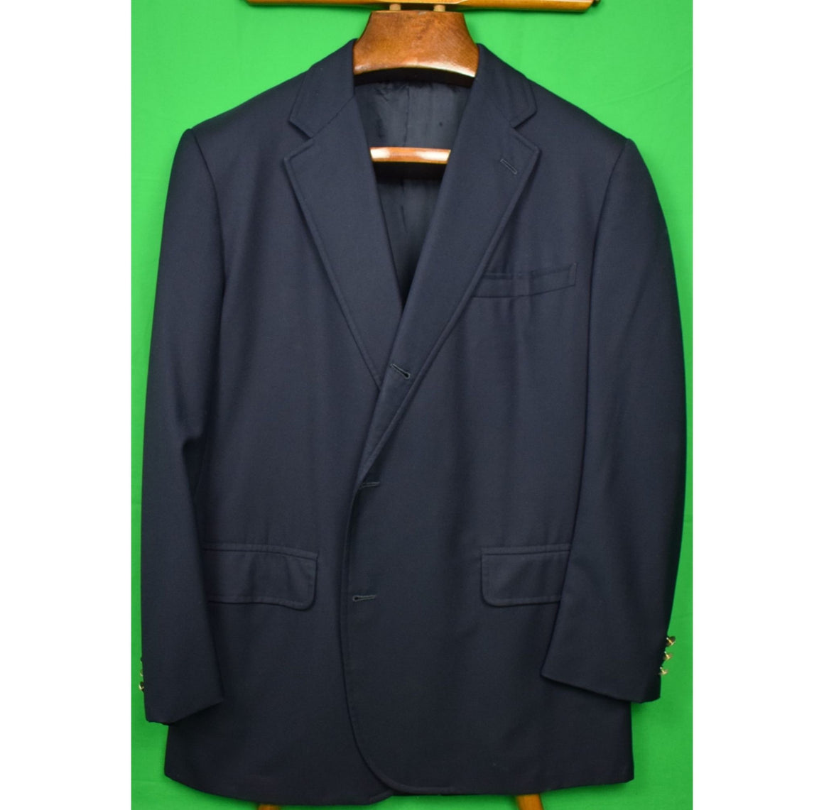 Brooks Brothers 2001 Custom Tailored Navy Blazer w/ Racquet & Tennis Club Buttons Sz 44R