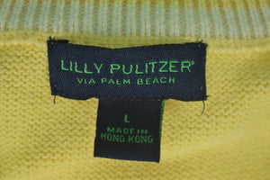 Lilly Pulitzer Yellow V Neck 85% Cotton/ 15% Cashmere Sweater Sz: L
