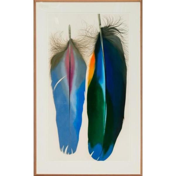 'Two Scarlet Macaw Feathers' c.1980's Mixed Media by Mary Jo McConnell (b.1935-)