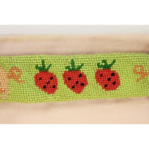 "Custom Piglet & Strawberry Needlepoint Belt Sz: 36""W (No Buckle)"