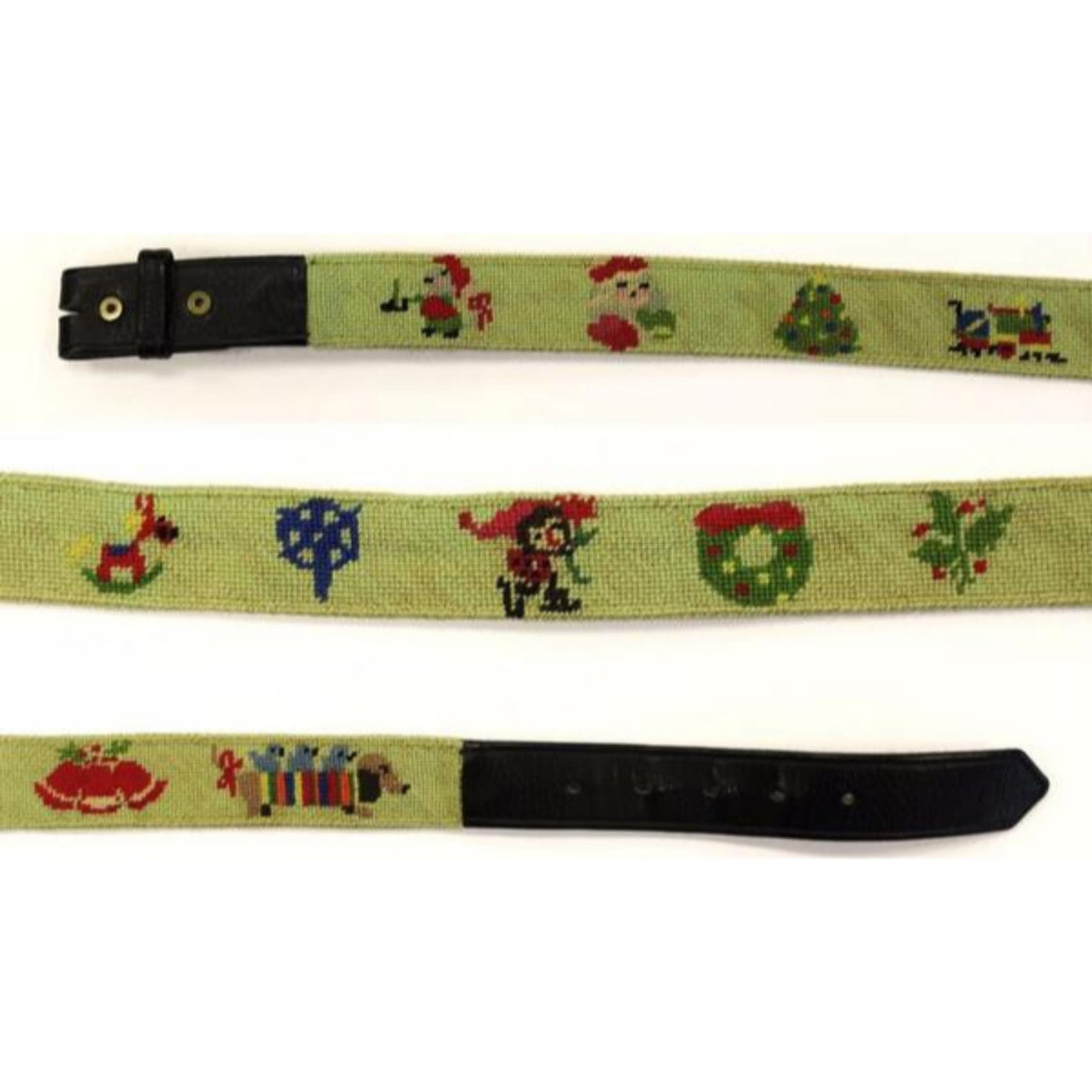 "Custom Santa & Wreath Needlepoint Belt Sz: 36""W"