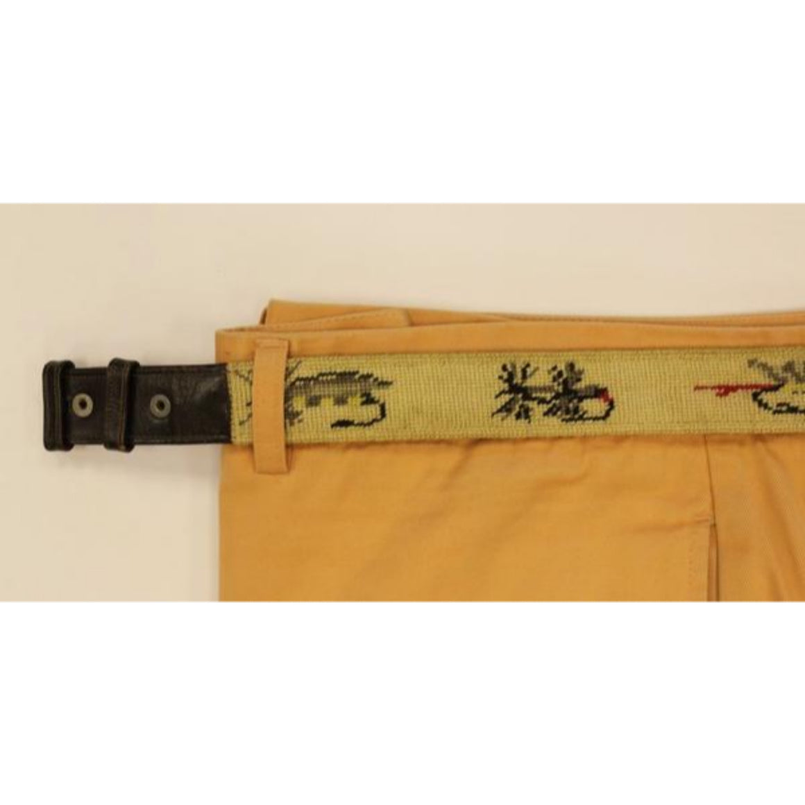 "'Trout Fly Hand-Needlepoint Belt' Sz: 35""W (No Buckle)"