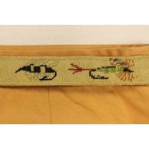 """Trout-Fly Hand-Needlepoint Belt"" Sz: 35""W (w/o Buckle!)"