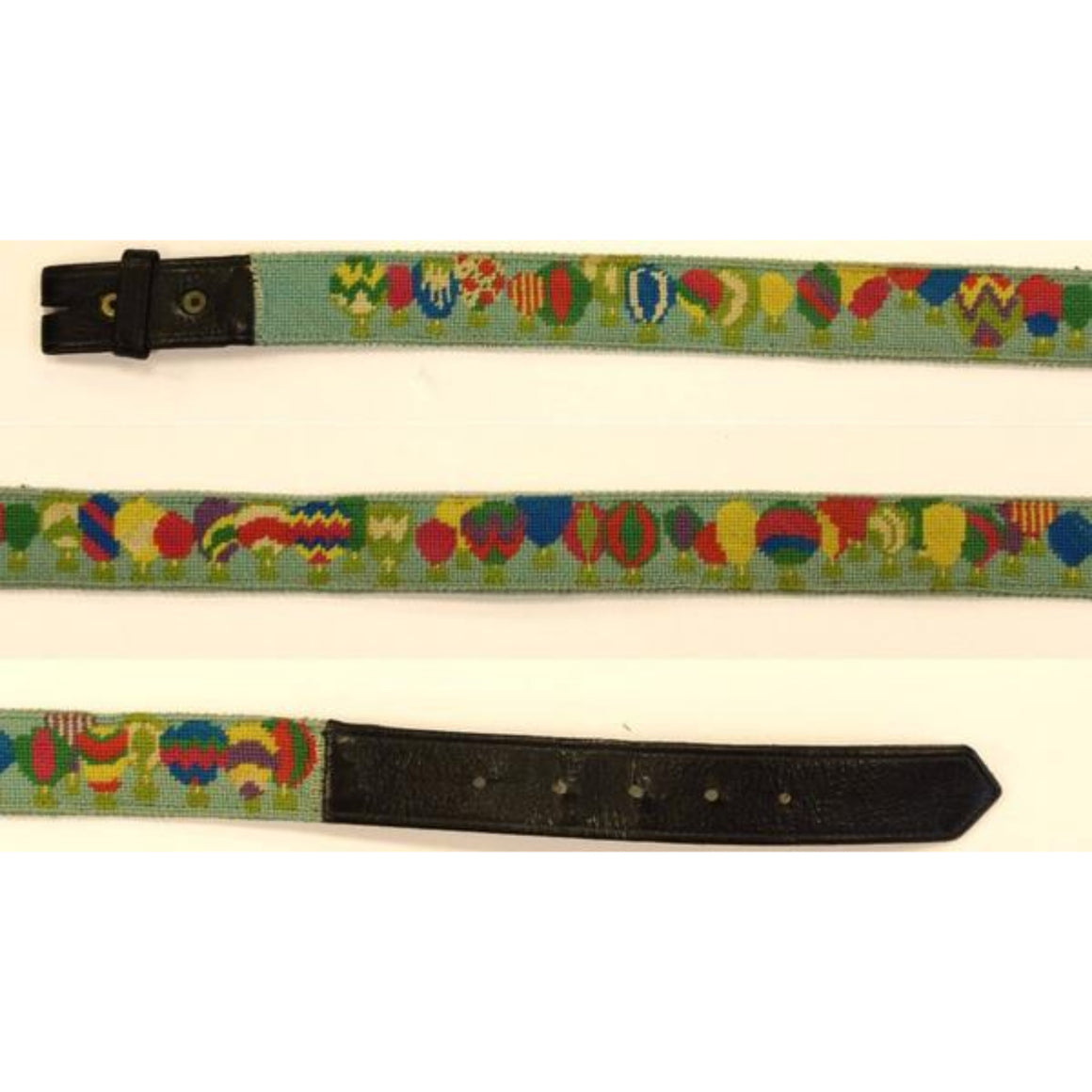 "'Custom Multi-Hot Air Balloon Needlepoint Belt' Sz: 36""W (No Buckle)"