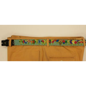 "Custom Multi-Hot Air Balloon Needlepoint Belt Sz: 36""W (No Buckle)"