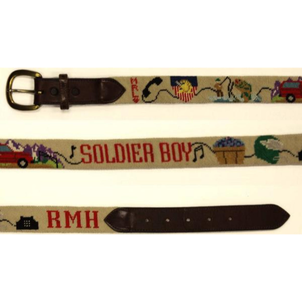 "'Custom Jeep Hand-Needlepoint Belt w/ Brass Buckle' Sz: 35""W"