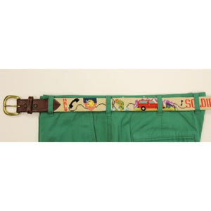 "Custom Jeep Hand-Needlepoint Belt w/ Brass Buckle Sz: 35""W"