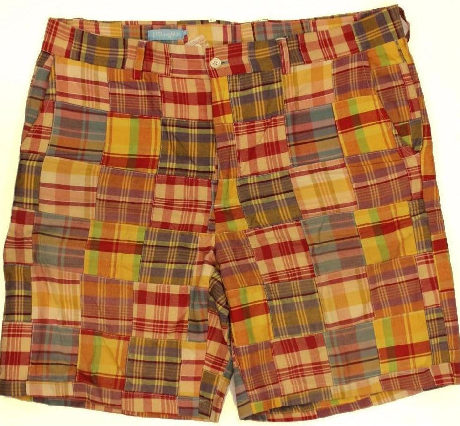 "J. McLaughlin Patch Madras Plaid Shorts Sz: 38""W"