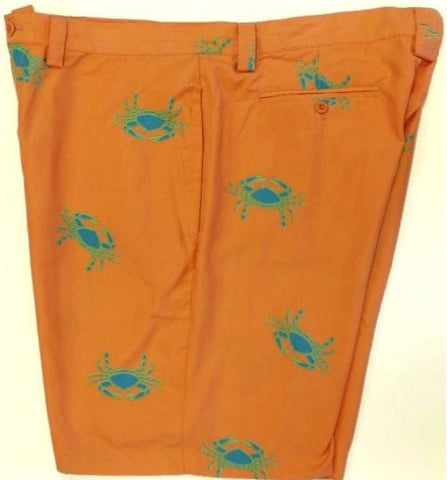 "Liquid Flow Orange 'Crab' Print Shorts/ Trunks"" Sz: 40""W"