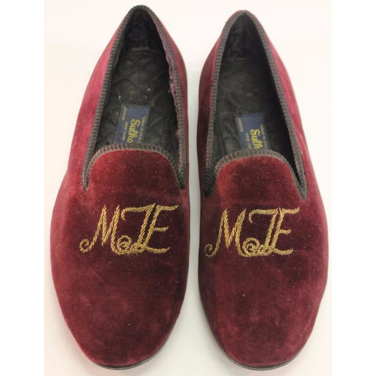 Sulka of London 'MTE' Burgundy Velvet Slippers Sz: 11
