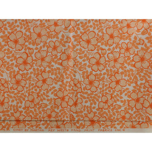 Lilly Pulitzer Vintage Orange Floral Key West Hand Print Fabric
