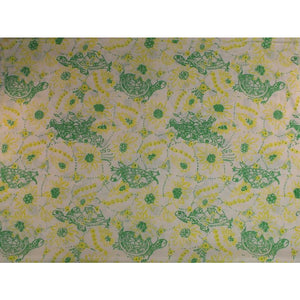 Lilly Pulitzer Green Turtle on Yellow Floral Print Fabric