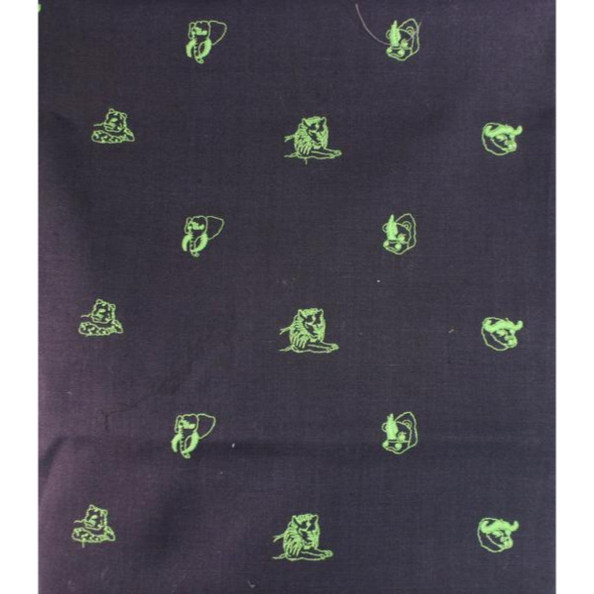 'Chipp Irish Moygashel Linen w/ Lime Green Embroidered Big Game Animals'