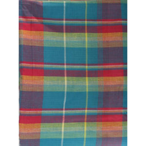 'Teal/ Hot Pink/& Orange India Madras Plaid Cloth'