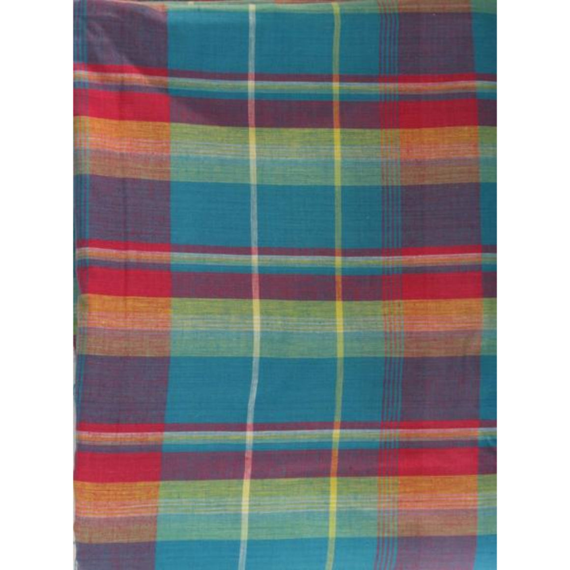 Turq/ Hot Pink/& Orange India Madras Plaid Cloth Fabric
