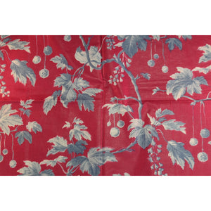 Fuchsia Fabric w/ Light Blue Leaflet Pattern