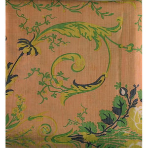 Scalamandre Melon Silk Fabric w/ Green & Blue Floral Print