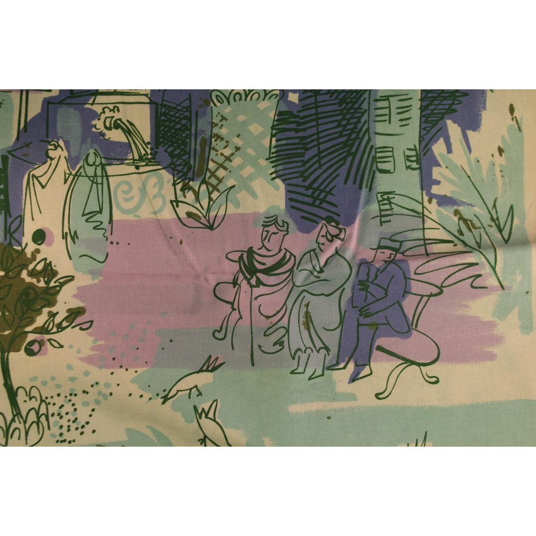 Cote d'Azur Colored Screen Print Twill Fabric for J.H. Thorp