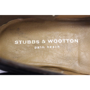 Stubbs & Wootton Tattersall Horse Blanket Black Velvet Slippers Sz: 12