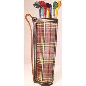 8 Golf Club Swizzle Sticks in Scotch Tartan Bag