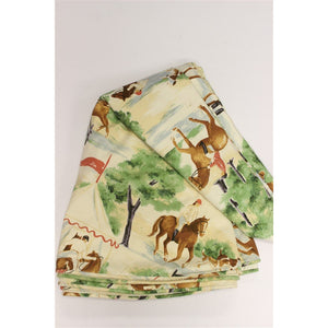 Custom Tablecloth Twill Fabric w/ Horses and Hounds