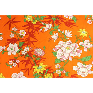 Vintage Bloomcraft Fabric w/ Orange Floral Print Pattern