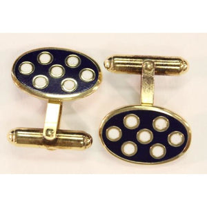 Navy & White Vermeil Polka Dot Cufflinks