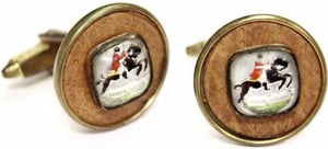 Horse & Jockey Crystal Cufflinks