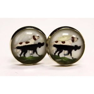 Hunting Dogs Crystal Cufflinks