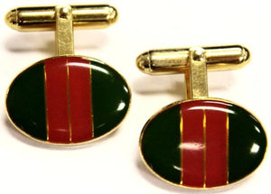 Green & Red Regimental Stripe Cufflinks