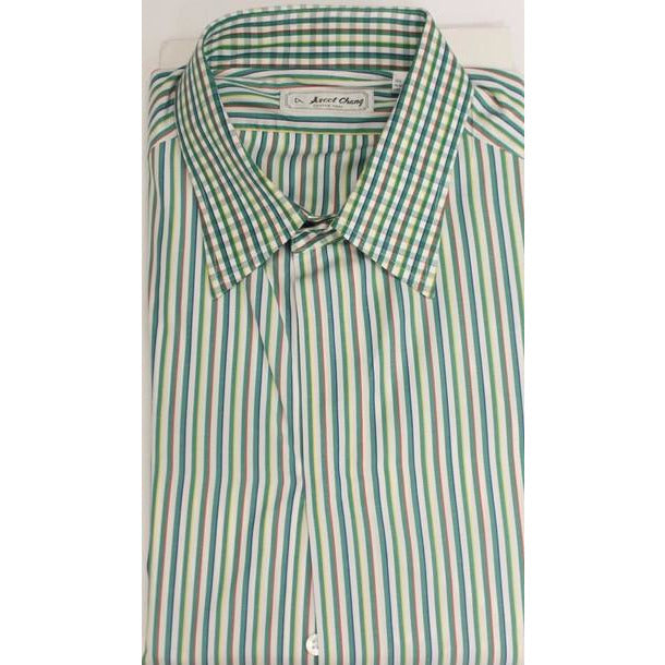 Ascot Chang Multi-green Stripe Custom Button Cuff Dress Shirt