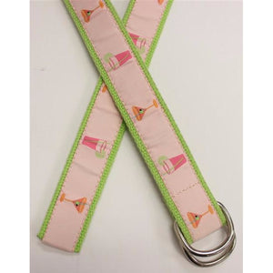 Women's Pink & Lime Green Ribbon Belt w/ Cocktail Martini Glasses and Chrome Buckle Sz: Sm