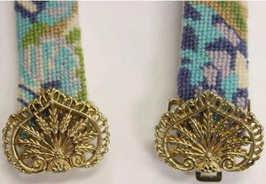 Women's Needlepoint Belt with Pastel Floral Pattern and Gilt Brass Buckle Sz. 31""