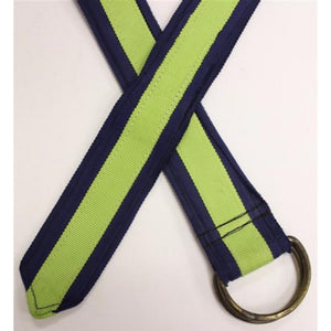 Navy Grosgrain Belt w/ Lime Green Stripe Sz: XL