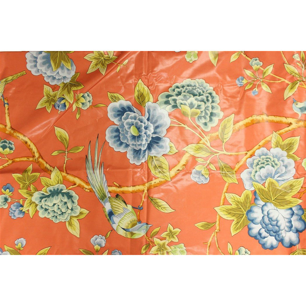 Vintage Brunschwig & Fils 'The Royal Pavilion at Brighton' Print in Coral w/ Blue Floral Pattern