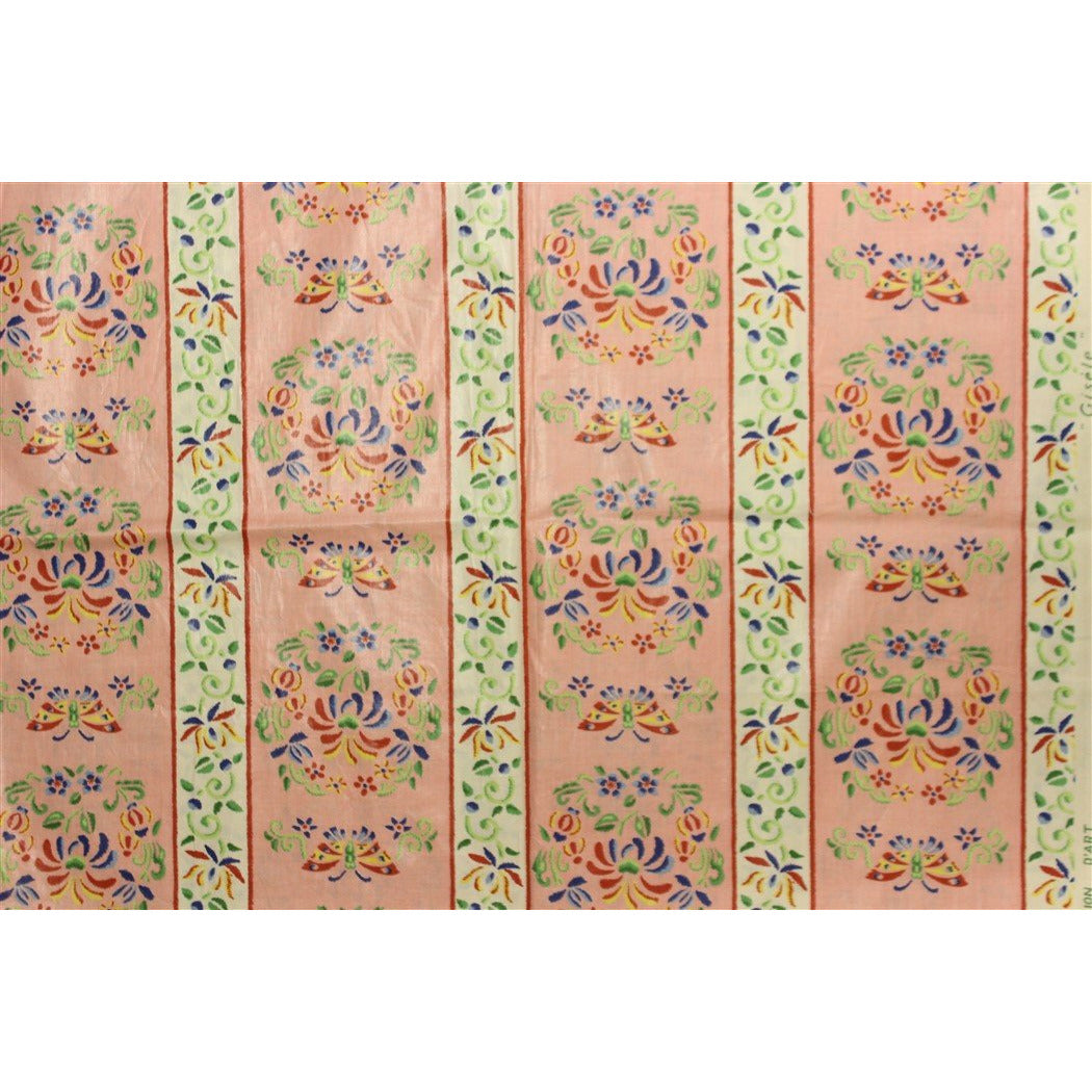 Vintage Gisele Glazed Chintz Shell Pink Fabric w/ Multicolor Butterflies & Flowers