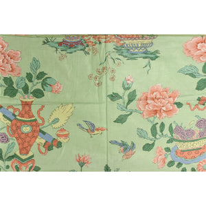 Chinoiserie Celedon Green Glazed Chintz Floral Fabric