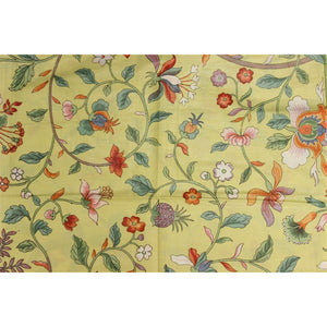 Vintage Porcelain Yellow Glazed Chintz Fabric w/ Multicolor Floral Pattern