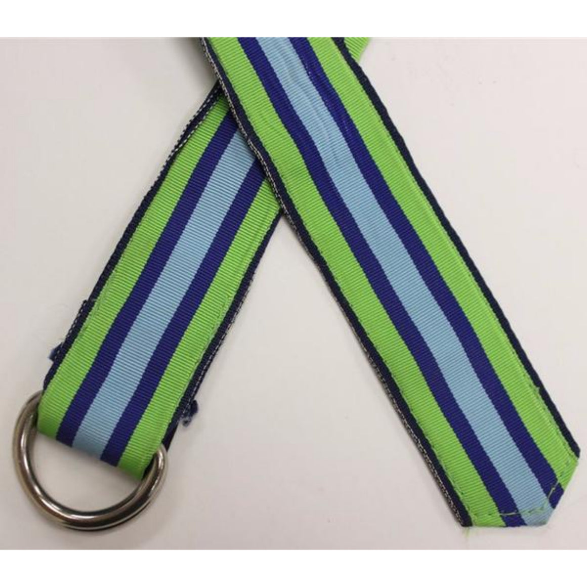 Paul Stuart Grosgrain Ribbon Belt w/ Royal Blue, Lime Green & Light Blue Stripes Sz: XL