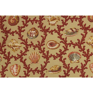 Vintage Williamsburg Fabric w/ Seashell & Coral Pattern