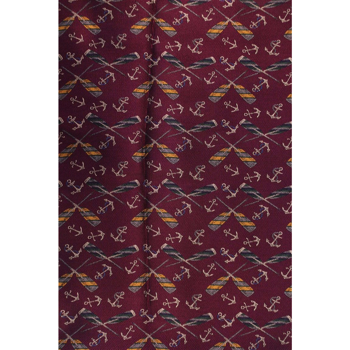 Cross Oars & Anchors on Plum Colour Fabric