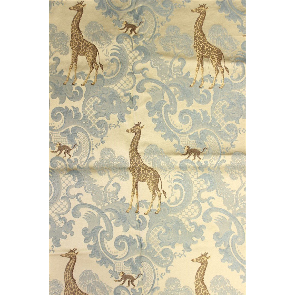 Silk Twill Fabric w/ Embroidered Giraffes & Monkeys