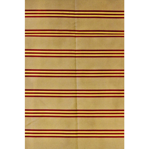 Brooks Brothers English Silk Neckwear Fabric w/ Gold & Burgundy Regimental Stripes on Taupe Ground
