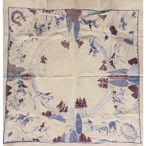 Vintage White Tablecloth w/ Embroidered Horse & Riders