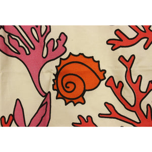 Vintage Fabric w/ Coral Plants & Sea Shells
