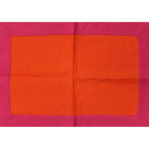 Lynn Chase Hot Pink & Orange Linen Placemat