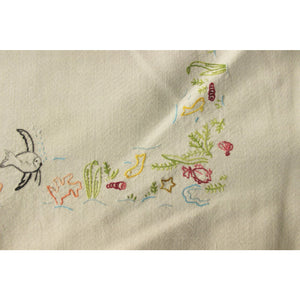 Vintage White Table Cover w/ Embroidered Fish