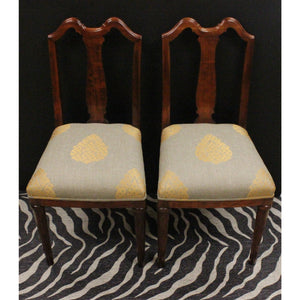 Pair of Mahogany Side Chairs with Upholstered Seat Cushions