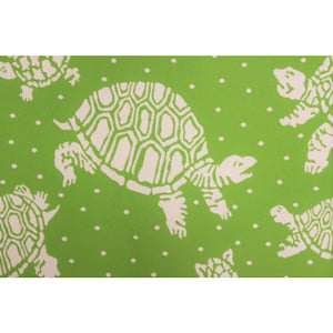 Green Table Cover w/ White Turtle & Polka Dot Pattern