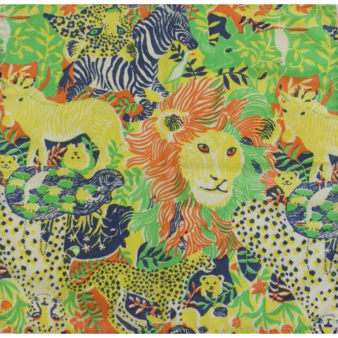 Set of 5 Lilly Pulitzer Vintage Big Game Animals Pocket Squares